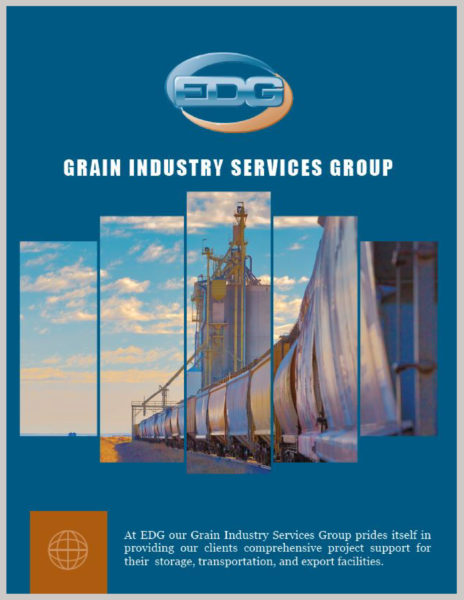 EDG Grain Industry Services and Capabilities Brochure Cover with a grain silo and grain being transported
